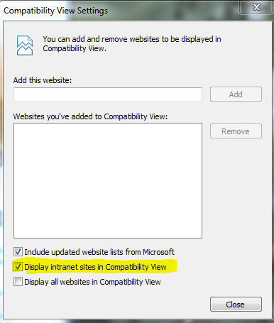 Intranet Site Compatibility Settings