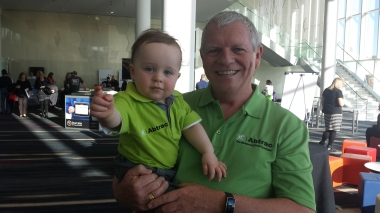 At the end of the Gold Coast 2 day event where 500 partners from all over Australia attended, Ed with his grandson assiting knocking down the Abtrac display stand.