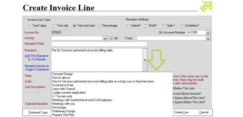Desktop: Create Invoice Line > Choose from default narrations