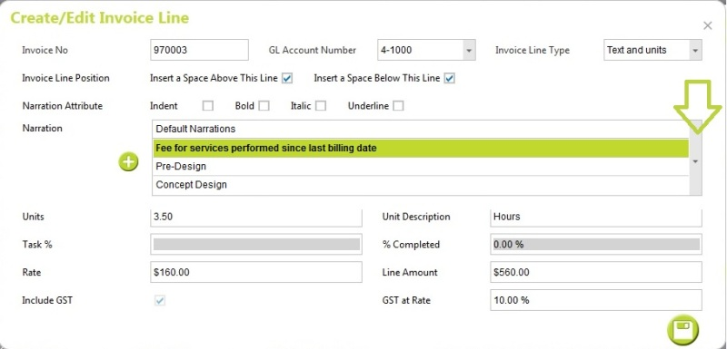 Cloud: Create Inoive Line > Choose from default narrations