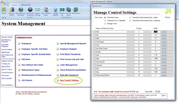 System Management > Administrator > User Control Settings - Abtrac 5