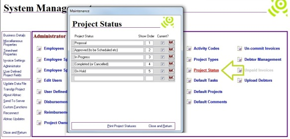 Create Project Status – Abtrac5
