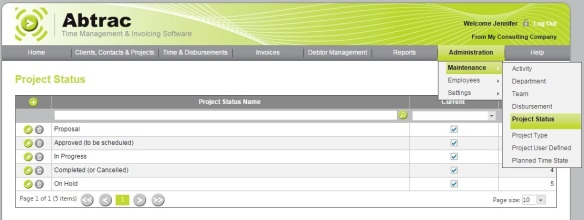 Create Project Status – AbtracOnLine