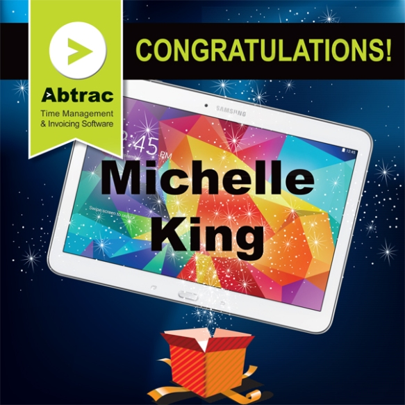 Congratulations to Michelle King who is the WINNER of the Samsung Tab4 valued at $529!  Now you'll be able to manage your contacts, jobs & timesheets on the go. Enjoy!