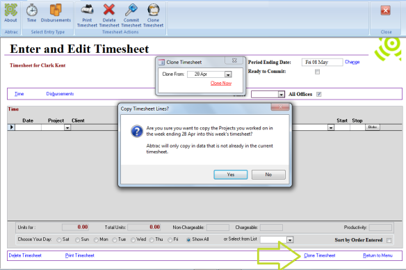 Abtrac5 - Clone timesheets dates