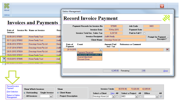 Record Invoice Payment – Abtrac5