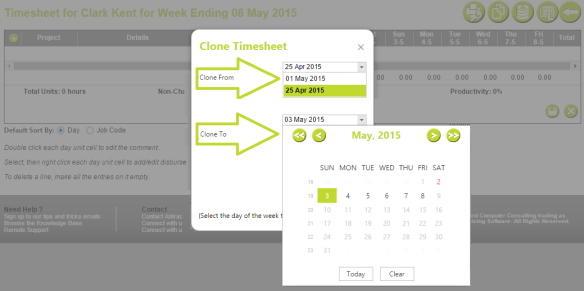AbtracOnLine - Clone Timesheet select range