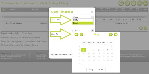 AbtracOnLine - Clone Timesheet select range