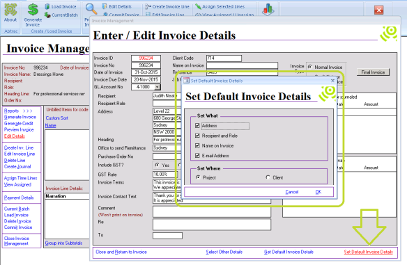 Abtrac5 - Update/Set Default Address details
