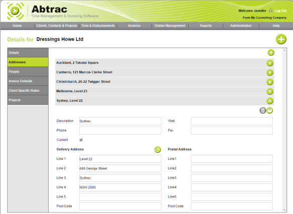 AbtracOnLine - Client Address(es)