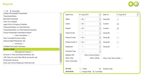 Invoice Listing Filters - AbtracOnLine