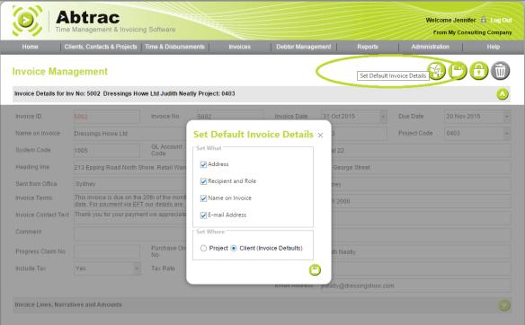 AbtracOnLine - Update/Set Default Address details