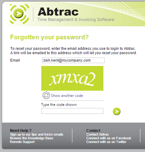 AbtracOnLine - Forgotten Password Reset