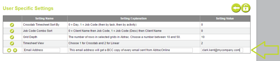 AbtracOnLine - User Specific Settings -Bcc Email