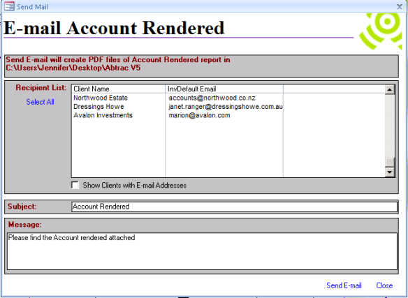 Abtrac 5 - Email Account Rendered Recipients