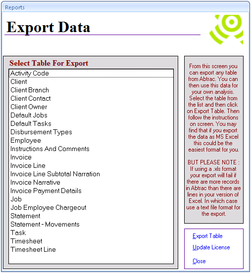 Abtrac5 - Export Data