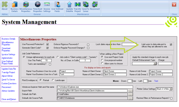 Abtrac5 - Limit access by Employee Office