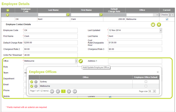 AbtracOnLine - Employee Details > Assign Offices