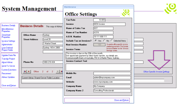 Abtrac 5 - Office Specific Settings