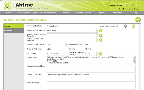 AbtracOnLine - Office Invoice Settings