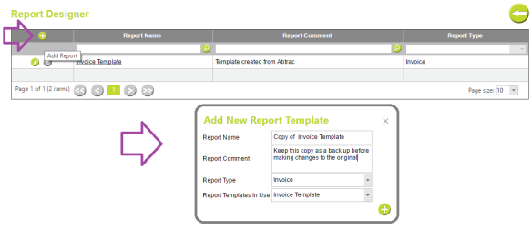 AbtracOnLine - Report Designer Add Template