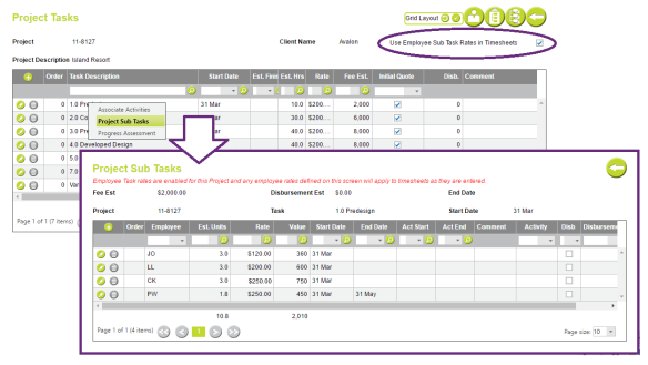 AbtracOnLine - Task Specific Employee Rates