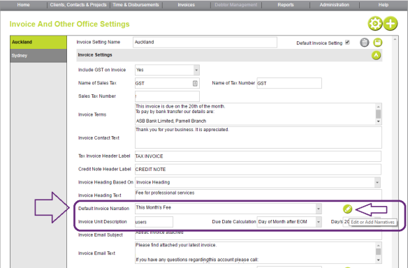 auto generate invoice  u2013 fee total with narration